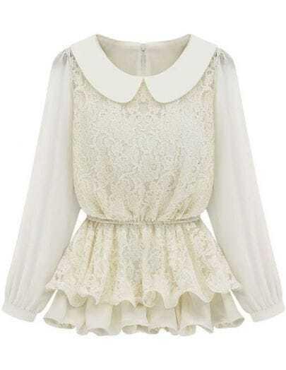 White Long Sleeve Lace Ruffles Chiffon Blouse