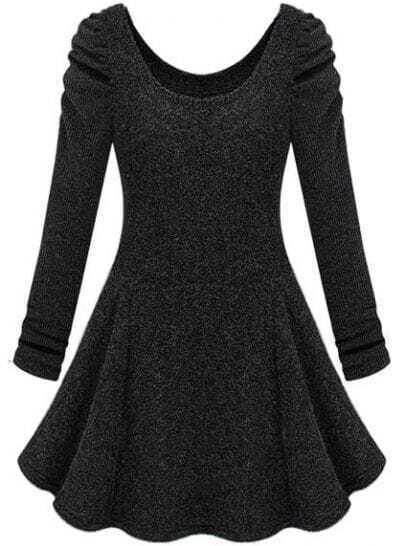 Dark Grey Long Sleeve Ruffle Tweed Dress