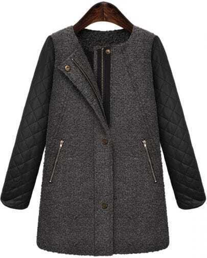 Grey Contrast PU Leather Zipper Tweed Coat