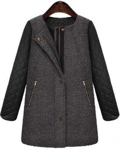 Grey Contrast PU Leather Zipper Tweed Coat