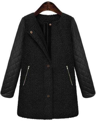 Black Contrast PU Leather Zipper Tweed Coat