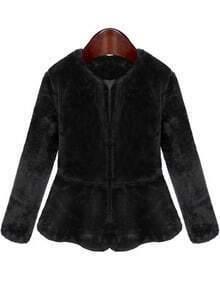 Black Long Sleeve Ruffle Velvet Coat