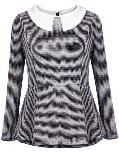 Grey Long Sleeve Ruffle Back Zipper Blouse