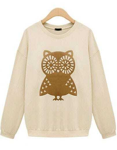 Beige Long Sleeve Owl Print Loose Sweatshirt