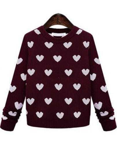 Wine Red Long Sleeve Hearts Pattern Sweater