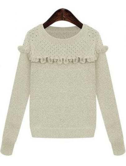 White Long Sleeve Ruffle Knit Sweater