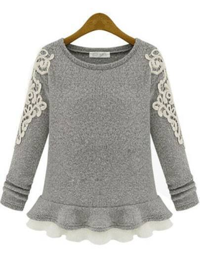 Grey Long Sleeve Embroidered Ruffle Sweater