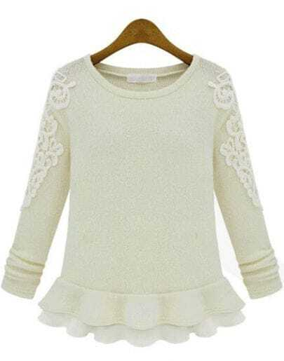 Ivory Long Sleeve Embroidered Ruffle Sweater