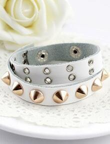 White Rivet Leather Bracelet