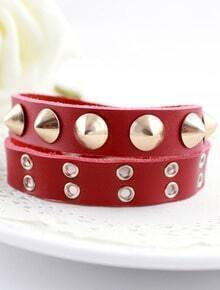 Red Rivet Leather Bracelet