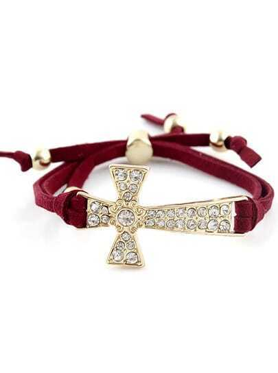 Gold Diamond Cross Red Bracelet