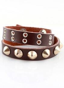 Brown Rivet Leather Bracelet