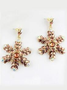 Yellow Gemstone Gold Snowflake Earrings
