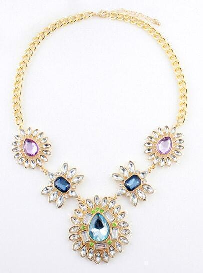Multi Gemstone Gold Flower Chain Necklace
