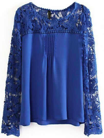 Blue Contrast Lace Hollow Long Sleeve Blouse
