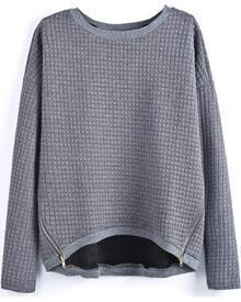 Grey Long Sleeve Plaid Pattern Zipper Blouse
