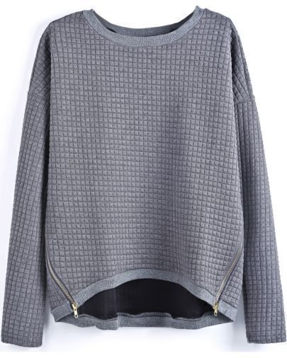 Grey Long Sleeve Plaid Pattern Zipper Blouse