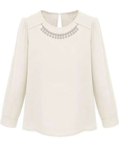 White Long Sleeve Necklace Embellished Blouse