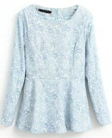 Blue Long Sleeve Embroidered Ruffle Blouse