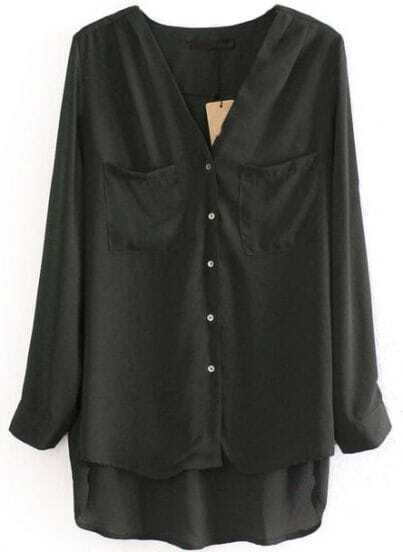 Green Long Sleeve Pockets Dipped Hem Blouse