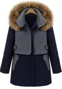 Blue Contrast Grey Panel Detachable Fur Hood Wool Blend Coat