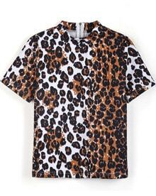 Leopard Short Sleeve Back Zipper Blouse