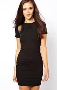 Black Short Sleeve Contrast Mesh Yoke Dress