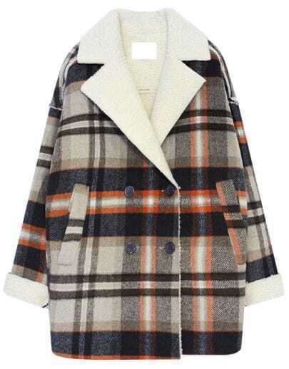 Brown Lapel Long Sleeve Plaid Loose Coat