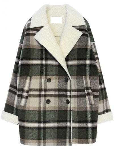 Green Lapel Long Sleeve Plaid Loose Coat