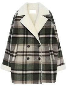 Green Lapel Long Sleeve Plaid Loose Coat