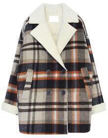Brown Lapel Long Sleeve Plaid Loose Coat