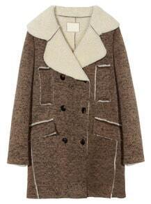 Brown Lapel Long Sleeve Double Breasted Coat