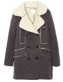 Dark Grey Lapel Long Sleeve Double Breasted Coat