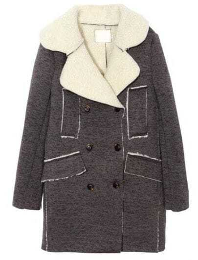 Dark Grey Lapel Long Sleeve Double Breasted Coat