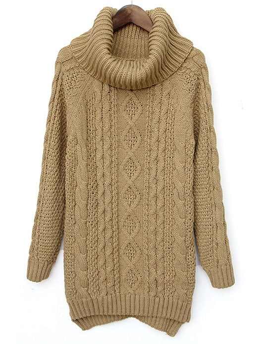 Camel High Neck Long Sleeve Cable Knit Sweater -SheIn(Sheinside)