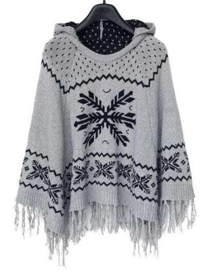 Grey Hooded Snowflake Pattern Tassel Cape
