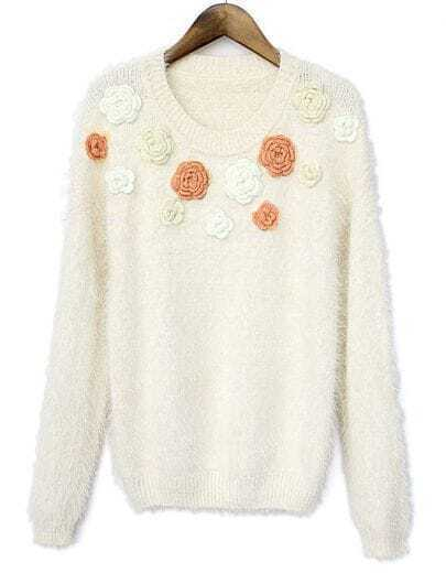 White Long Sleeve Applique Fluffy Knit Sweater