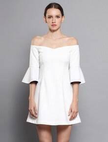 White Boat Neck Ruffle Half Sleeve Dress