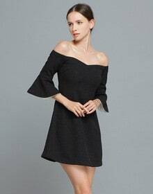 Black Boat Neck Ruffle Half Sleeve Dress