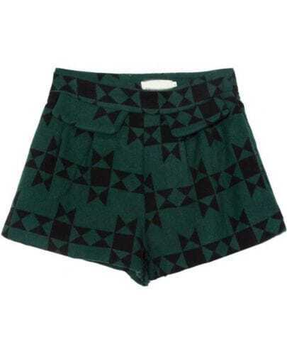 Green High Waist Geometric Print Shorts