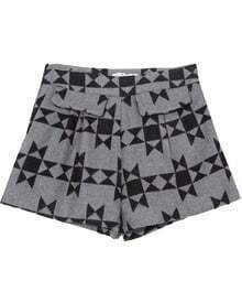 Grey High Waist Geometric Print Shorts