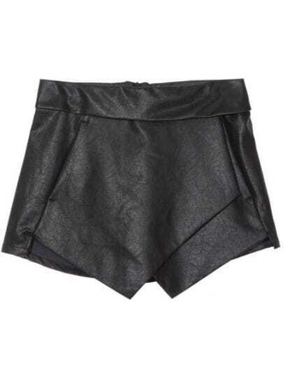 Black Asymmetrical Leather Shorts