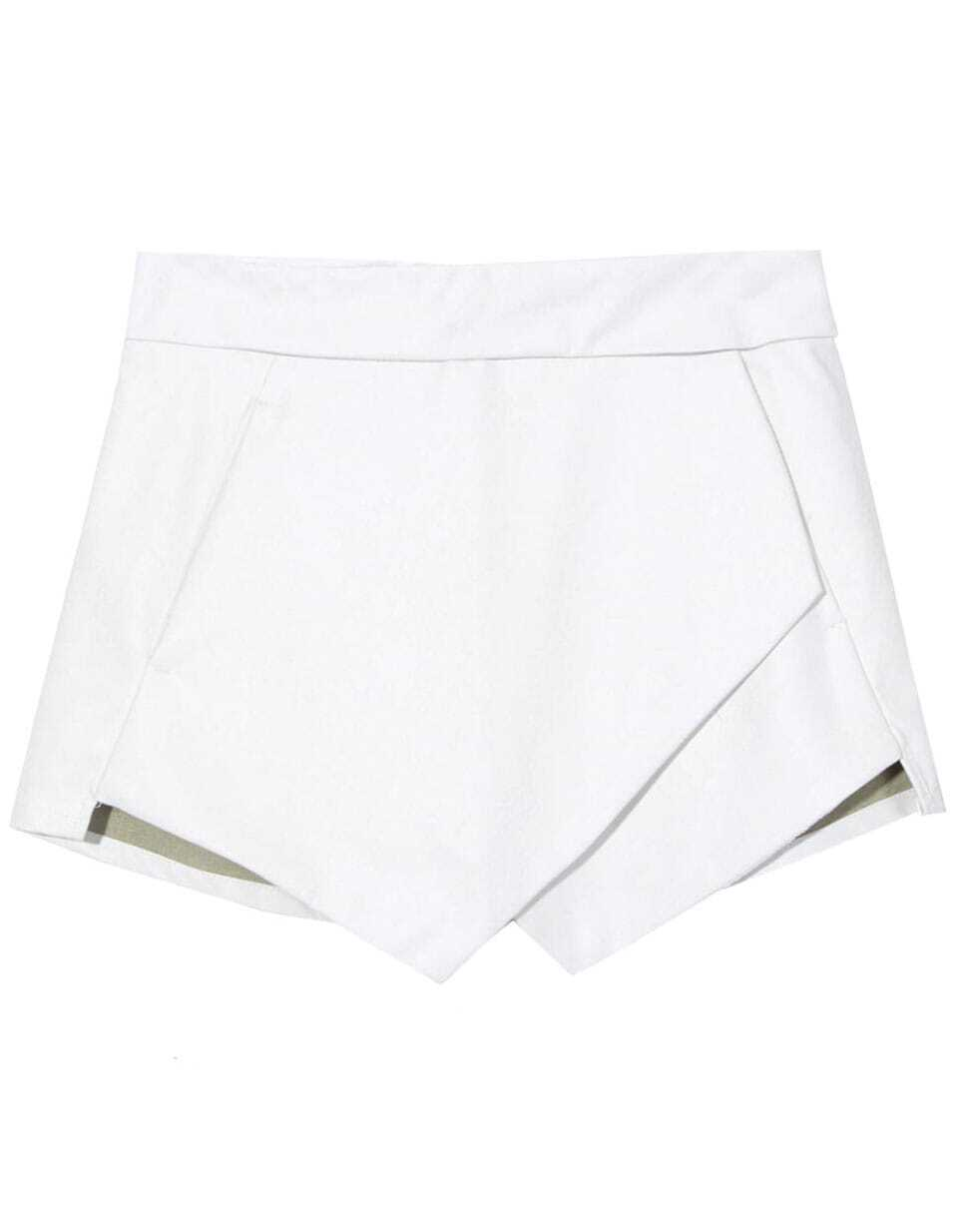 White Asymmetrical Leather Shorts -SheIn(Sheinside)