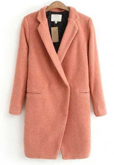 Abrigo solapa manga larga-Rosado