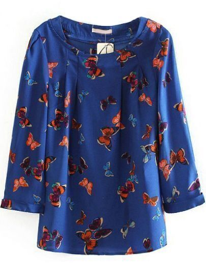 Blue Long Sleeve Butterfly Print Chiffon Blouse
