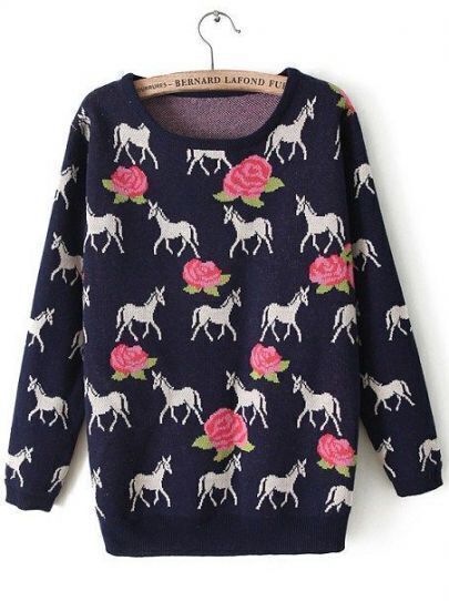 Navy Long Sleeve Horse Rose Pattern Sweater