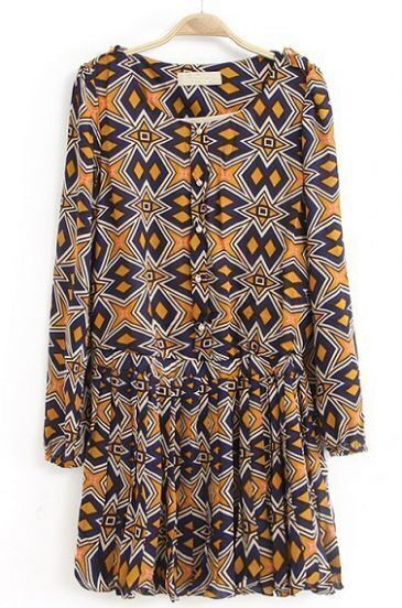 Yellow Long Sleeve Epaulet Geometric Print Pleated Dress