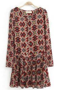 Red Long Sleeve Epaulet Geometric Print Pleated Dress
