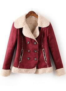 Wine Red Lapel Long Sleeve Buttons Coat