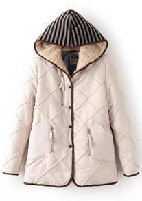 Beige Striped Hooded Diamond Patterned Coat